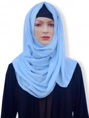 Georgette Stole With Slitted Polyester Thread Work in Baby Blue