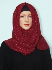 Georgette Stole With Dot Print In Maroon