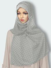 Georgette Stole With Dot Print In Ash