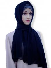 Georgette Stole With Slitted Polyester Thread Work in Black