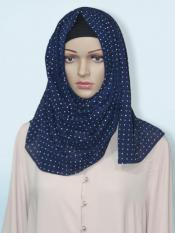 Georgette Stole With Dot Print In Navy Blue