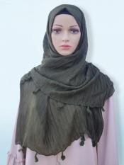 Cotton Mix Plain Stole With Tassel Work In Olive