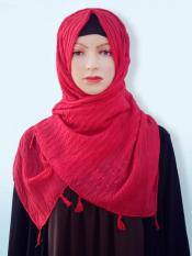 Cotton Mix Plain Stole With Tassel Work In Red