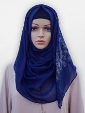 Cotton Mix Stole With Drip Drop Stone Work And Pearl In Navy Blue