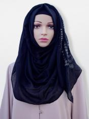 Cotton Mix Stole With Drip Drop Stone Work And Pearl In Black