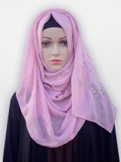 Cotton Mix Stole With Drip Drop Stone Work And Pearl In Light Pink