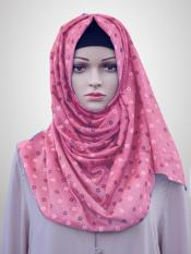 Cotton Mix Stole With Printed Work In Puce Pink