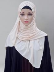 100% Polyster Lycra Turban Style Instant Hijab In Cream