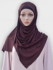 100% Polyster Lycra Turban Style Instant Hijab In Brown