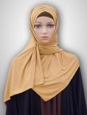100% Polyster Lycra Turban Style Instant Hijab In Dark Wheat