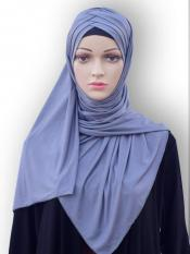 100% Polyster Lycra Turban Style Instant Hijab In Grey