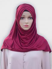 100% Polyster Lycra Turban Style Instant Hijab In Maroon