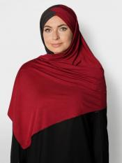 100% Polyster Lycra Turban Style Double Shade Instant Hijab In Black And Maroon