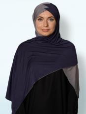 100% Polyster Lycra Turban Style Double Shade Instant Hijab In Grey And Navy Blue