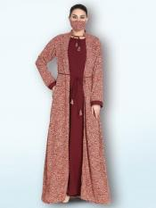 Nida Matte And Printed Crepe With Attached Shrug In Multi Color