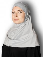 Cotton Lycra Instant Hijab In Light Greyish Blue