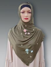 Soft Cotton Stole With Floral And Stone Work In Light Olive