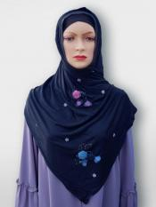 Soft Cotton Stole With Floral And Stone Work In Navy Blue