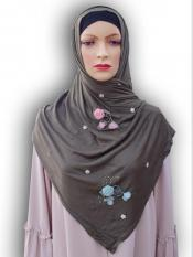 Soft Cotton Stole With Floral And Stone Work In Olive