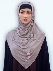 Soft Cotton Stole With Floral And Stone Work In Light Violet