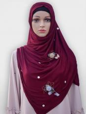Soft Cotton Stole With Floral And Stone Work In Maroon