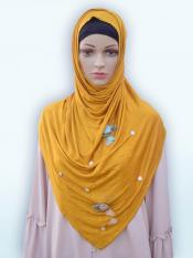 Soft Cotton Stole With Floral And Stone Work In Mustard