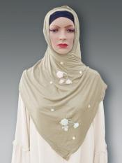 Soft Cotton Stole With Floral And Stone Work In Light Fawn