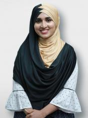 Turban Soft Knitted Icra Double Shaded Instant Hijab In Black And Beige
