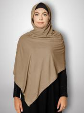 Soft Knitted Icra Fabric Stoles With Strips In Light Khaki