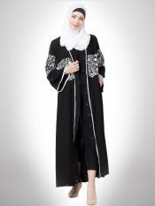Matt Nida Front Open Abaya With Sleeve And Front Embroidered In Black