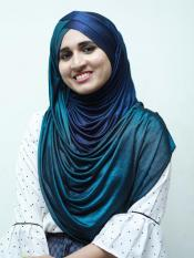 Turban Soft Knitted Icra Double Shaded Instant Hijab In Peacock Blue And Navy Blue