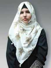 100% Polyster Stole With Floral Print And Tessel In Offwhite And Beige