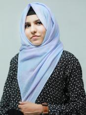 Cotton Mix Double Shade Check Stole In Light Blue