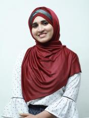Turban Soft Knitted Lycra Instant Hijab With Shining Band In Maroon And Black