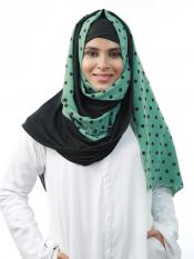 Cotton Mix And Polyster Lycra Double Shaded Stole With Polka Dots In Black And Light Green