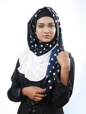Cotton Mix And Polyster Lycra Double Shaded Stole With Polka Dots In White And Navy Blue