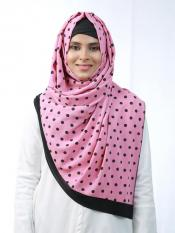 Cotton Mix Stole With Polka Dots And Black Band In Pink