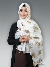 100% Polyster Stole With Floral Print And Tessel In Offwhite And Dark Beige