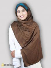 Turban Soft Knitted Lycra Instant Hijab With Band In Brown And Peacock