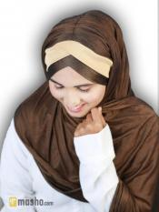 Turban Soft Knitted Lycra Instant Hijab With Band In Brown and Beige