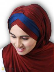 Turban Soft Knitted Lycra Instant Hijab With Band In Maroon And Navy Blue