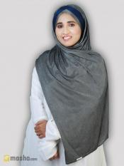 Turban Soft Knitted Lycra Instant Hijab With Band In Silver And Navy Blue