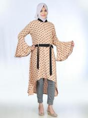 Cotton Mix Polka Dot Kurti With Bell Sleeves and Black Band In Tangerine