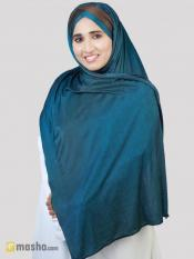 Turban Soft Knitted Lycra Instant Hijab With Band In Peacock And Brown