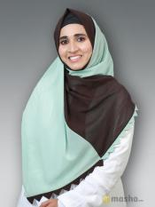 100% Polyster Double Shade Plain Stole In Pista And Brown