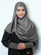 Soft Poly Mix Plain Stole In Grey