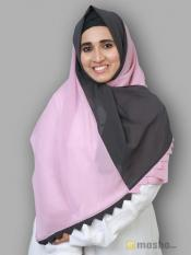 100% Polyster Double Shade Plain Stole In Grey And Puce Pink