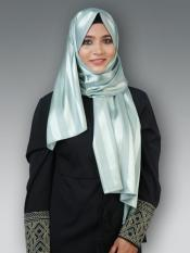Satin Silk Plain Stole In Light Mint