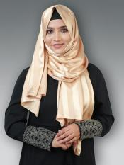 Satin Silk Plain Stole In Beige