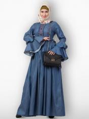 Premium Dye Denim Abaya With Cuff Sleeves In Denim Blue